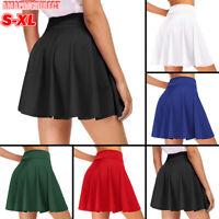 Womens High Waist A Line Skater Mini Skirt Flared Pleated Short Skirt Mini Dress