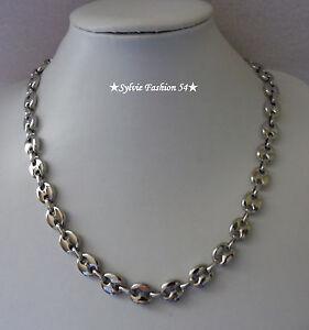 Collier chaîne bijou homme femme maillon grain de café Acier inoxydable 1 cm