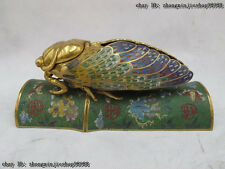 100% Pure Bronze cloisonne 24K Gold Scorpion Snail Cicada tree branch Censer