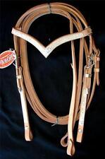 Lite OIL SHOWMAN V BROW WESTERN HORSE SHOW bridle HEADSTALL REINS