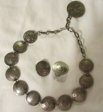 Earings Set 77.81 Gr,2.511 Ozt Vintage Coin Silver Necklace and