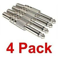 """NEW 4 pack 1/4"""" male TS mono monaural audio connector plugs"""