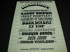 LONDON 1971 promo ad MOODY BLUES Keef Hartley MILLER ANDERSON Paul Jones others