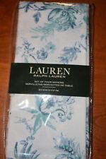 RALPH LAUREN FIGUEROA FLRL/BLUE/TEAL SET OF 4 NAPKINS 100% COTTON WHITE FLORAL