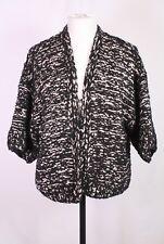 T42-10 H&M Strickjacke Kimono-Stil schwarz-beige meliert Gr. M/L Chenille