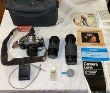 Vintage Canon AE-1 SLR  Film Camera w/3 Lenses, Bag, Tripod and  lots More!   mc