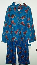 Spiderman Flannel Type Button Front Shirt Pajamas Set Size8NWT