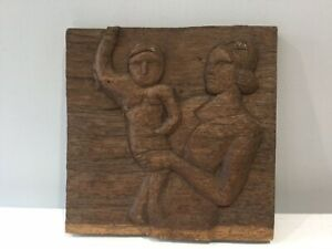 Antique Folk Art Carved Heavy Oak Panel. Arts And Crafts Tradition.