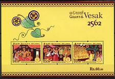 Sri Lanka 2018 MNH Vesak Buddha Day Chulla Suthasoma Jathaka 3v M/S Stamps