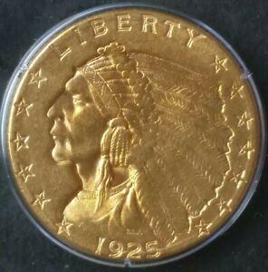 1925 D $2.50 Incuse Indian Gold Quarter Eagle PCGS AU55