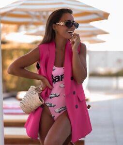 Zara Pink BARBIE Print Bodysuit Size L