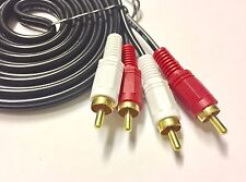 10m Twin RED WHITE 2x RCA PHONO Audio LEFT RIGHT Cable Male to Male Lead GOLD