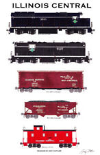 """Illinois Central 1960s-Era 11""""x17"""" Railroad Poster by Andy Fletcher signed"""