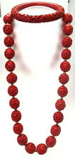 CHINESE CINNABAR NECKLACE W/ STERLING FILIGREE CLASP AND MATCHING BRACELET