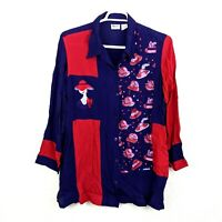 Vtg RED HAT SOCIETY Womens Plus 22W Purple Button Up Tunic Shirt Blouse Top