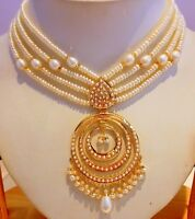 22K GOLD AND PEARL NECKLACE PENDANT SET BOLLYWOOD STYLE CHAND BALA PAIR SET