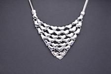Silver Heart Bib Ornament Herring Bone Women Girl Necklace Costume Jewellery