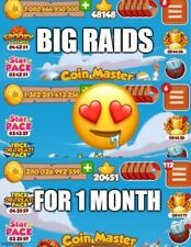 BIG RAIDS Coin Master for 1 MONTH from MY 3 ACCOUNTS