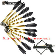12PCS Aluminum Metal Arrow Bolts for 50lb & 80lb Pistol Crossbow Bow Hunting