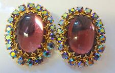 Vintage JULIANA Moon Glow Cabochon Amethyst Color Rhinestone Clip On Earrings