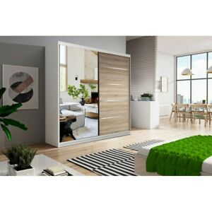 Modern Wardrobes VIST 150cm mirrored two sliding doors FREE DELIVERY