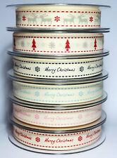 1m Berisfords 15mm Christmas Printed Ribbon Choice Designs For Card Making Craft