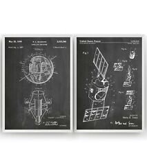 Outer Space Satellite Set Of 2 Patent Prints - Poster Art Decor Gifts - Unframed