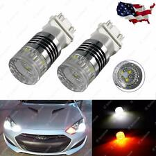 2x 3157 Dual Colors White/Amber Switchback Front Turn Signal LED Light Bulbs