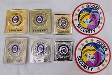 Vintage Lot of 6 Odgen Security Guard Badges + 2 Patches