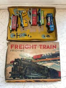 Old  Vintage  Friction Powered Freight Train Set with Box from Japan 1950