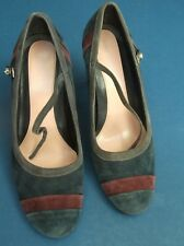 M&S Shoes Blue suede ankle strap 3in heel worn once Size 38/5