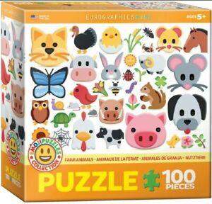 Eurographics Puzzle 100 Piece Jigsaw - Farm Animals -Emojis  EG61005379