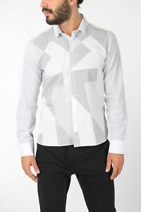 NEIL BARRETT men Shirts Long Sleeve Asymmetric Print Top Straight Fit White M