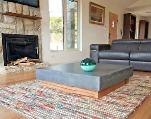 Concrete coffee table, polished charcoal square low lying, hardwood Vic Ash base