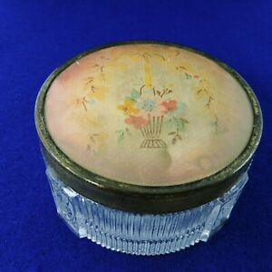 Trinket Powder Vanity Box Footed Art Deco Ribbed Glass Tulip