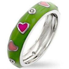 Silver Pink Enamel Hearts Ring Band Rhodium Plated Heart Eternity Size 9 USA
