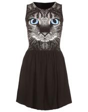River Silt women's kitty cat dress - UK 12 - goth lolita punk hippy wicca boho