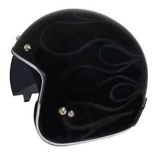 MT Le Mans Motorcycle Bike Open Face Flames Helmet Scooter Crash Lid Medium Black