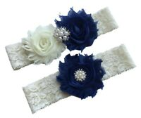 Plus size wedding garter navy blue set ivory lace bridal leg belt
