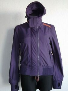 Superdry womens long sleeve purple parkas jacket with hoody size S