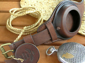 Brown WW1 WRIST STRAP for MILITARY POCKET WATCH VINTAGE LEATHER BAND CASE 48-54