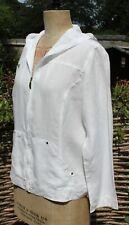 MARINA RINALDI MARINA SPORT White Linen Hooded jacket Shirt Hoodie - Size 19