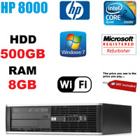 FAST HP QUAD CORE PC COMPUTER DESKTOP TOWER WINDOWS 7 WI-FI 8GB RAM 500GB HDD