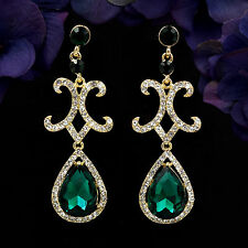 18K Gold Plated GP Green Crystal Rhinestone Chandelier Drop Dangle Earrings 6173