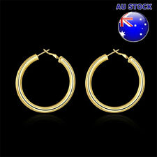 Wholesale 18K Yellow Gold Filled 5mm Big Round Hoop Earrings Gift