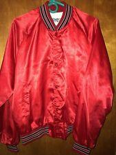 RARE VTG Chalk Line Blank Satin Varsity Jacket Red Black White Men's Large