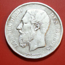 Belgien-Belgium: 5 Francs 1868 Silber, KM# 24,  Leopold II, F# 2860, VZ-XF