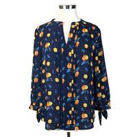 New Stitch Fix | 41 Hawthorn Melisa Tie Sleeve Blouse - Citrus/Oranges - Size M