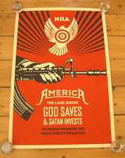Obey Giant Shepard Fairey God Saves signed Print  Poster USA + BONUS Paster NRA