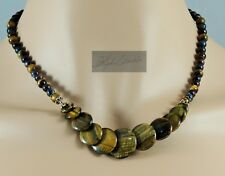 NEW! Delicate Tiger Eye Graduated Bead Discs Necklace & Earrings Set 17.5 - 22.5
